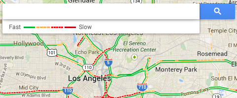 Google's traffic map legend.